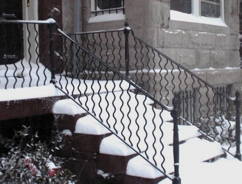 2040 snow on stairs