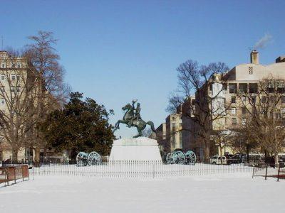 2066 Lafayette Park Lafayette statue snow (+)