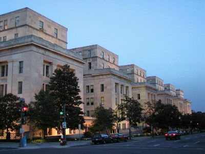 3251 Department of the Interior (side view) dusk