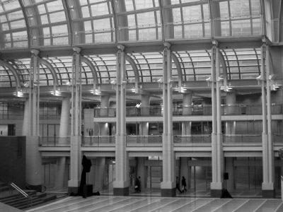 6105 Reagan atrium detail, bw (good)